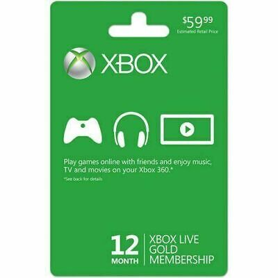 Microsoft Xbox One Xbox 360 Live 12-Month 1 Year Gold Membership Subscription