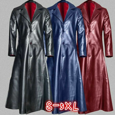 Casual Men Steampunk Gothic Long Coat Leather Jacket Knight Windbreaker Costume