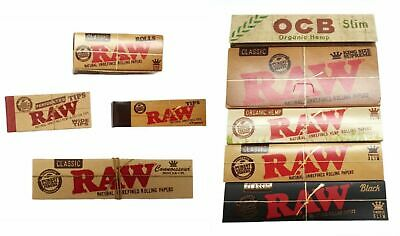RAW Rolling Papers / Filters Tips / OCB Hemp Slim Classic Natural Unrefined New