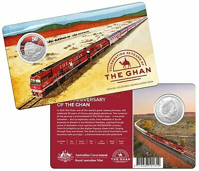 Free Post - Australia 2019 50 Cents Ghan Train Coloured Uncirculated Coin