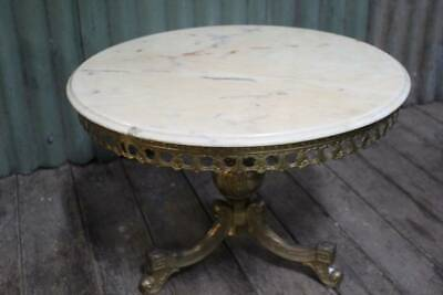 A Vintage Low Marble Top Table on Gilt Cast Metal Base - Coffee Table
