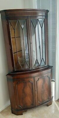 Antique Vintage Mahogany 4 Door Corner Display Cabinet Georgian Style