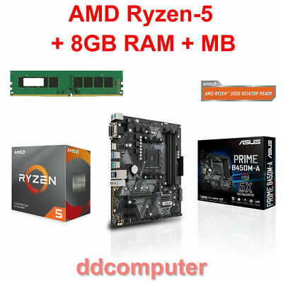 AMD Ryzen-5 3600 6-Core CPU, 8GB RAM, Motherboard HDMI DVI VGA for PC