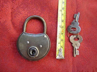 Vintage old antique small German padlock with two key