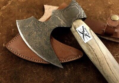 CUSTOM HANDMADE DAMASCUS STEEL WOOD AXE HATCHET TOMAHAWK Knife WITH SHEET