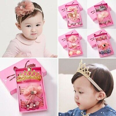 Crown Hair Band Baby Toddler Girls Kid Lace Flower Bow Turban Headband Headwrap