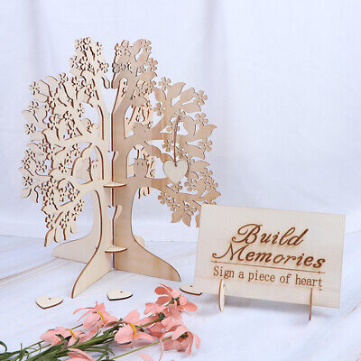 Wood Wish Tree Wedding Guest Book Tree Hearts Pendant Wedding Party Decoration3T