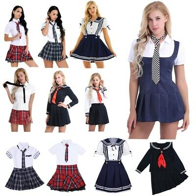 Women Role Play Uniform Pleated Costume School Sailor Outfit Skirt Fancy Dress