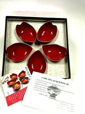 Japanese Old Natural Wooden Lacquerware Vermilion Color Bowl 5 Leaf Shape Dishes