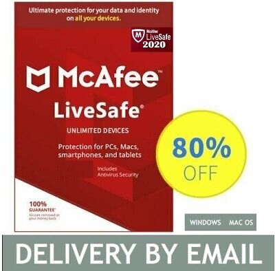 McAfee LiveSafe 2020 (Unlimited Devices/3Year) Internet Antivirus PC/Mac Licence