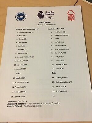 Brighton v Nottingham Forest U-23s Premier League Cup S/Sheet Season 2016-2017