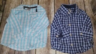 EUC Baby Boy's Plaid Button Down Shirts, includes 2 Shirts, 6 Months #547