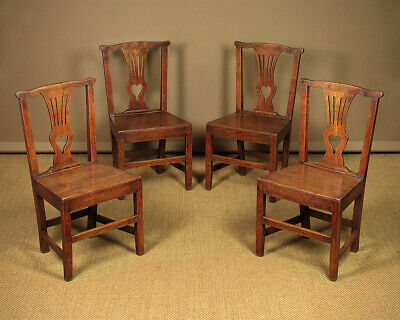 Antique Set of Four Country Chippendale Dining Chairs c.1810.