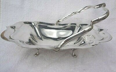 Vintage Swing Handled Footed Silver Plated E.P.N.S Cake / Bread Serving Basket
