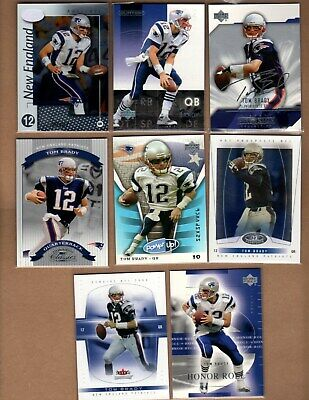 Tom Brady - New England Patriots - Lot of (8) VINTAGE early 2000's cards