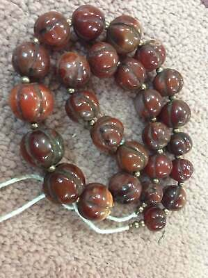 Ancient Rare Old Natural Carnelian Agate Melon Pumpkin Bead Strand Necklace E