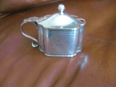 mustard pot old.sheffield plate, with liner