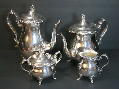 Vintage Newport Gorham Silver Plate Coffee/Tea 5 Pc Set, Ornate Repousse, Rare!