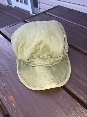 WWII/Korean War US Army Utility Cap Cotton OD Green Size 7 Good Condition Vtg