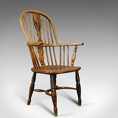 Antique Windsor Elbow Chair, Victorian Double Hoop Armchair, Elm, Ash c.1850
