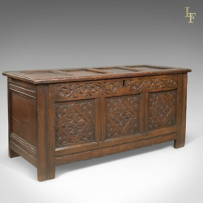 Carved Antique Coffer, English Oak Joined Chest, Trunk, c.1700
