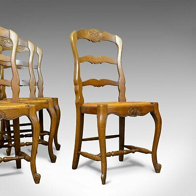 Set of Four, French Antique Dining Chairs, Country, Kitchen, Oak, Rush, c.1930