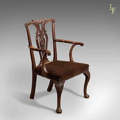 Antique Elbow Chair, 19th Century in Chippendale Taste