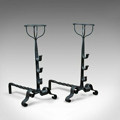 Antique Pair of Firedogs, English, Medieval Revival, Andirons, Forged Circa 1900