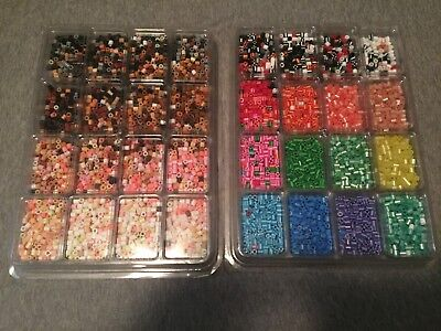 PERLER PLASTIC BEADS 2 trays approximately 8,500 Beads Mixed lot Open trays