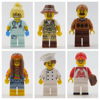 Lego Minifigures Baseball Dad Nurse Hippie Chef Fishing Town City