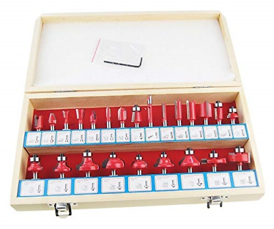 133035 24Pc Wood Working Router Bit Set For Electric Router Trimmer