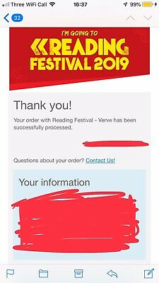 Reading Festival 2019 Early Bird Early Entry Ticket x 1