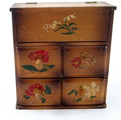 Vintage Wooden Sewing Notion Chest with Drawers Buttons Bobbins Thimbles Thread