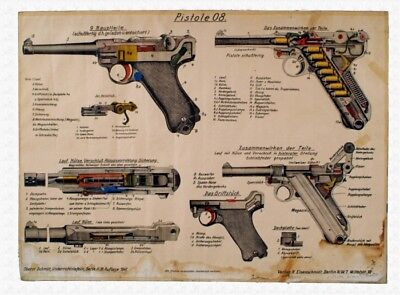 HUGE GERMAN LUGER COLOR Poster Parabellum P08 Manual Print