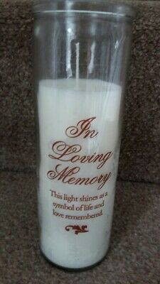 In Loving Memory Glass Grave Pillar Candle with inscription 7 inches tall NEW