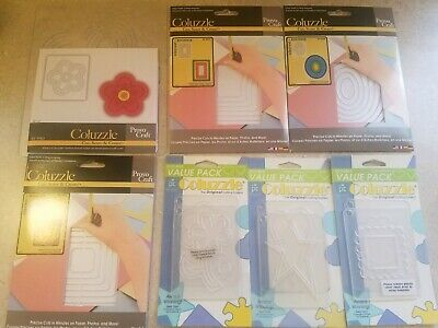 Giant Lot of Provo Craft Coluzzle Cutting Templates - Flower, Oval, Square, Star