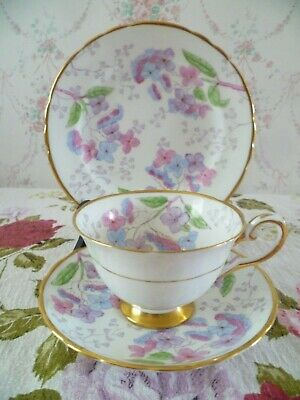 Vintage Tuscan English China Trio Tea Cup Saucer Plate Lorndale Floral F 166