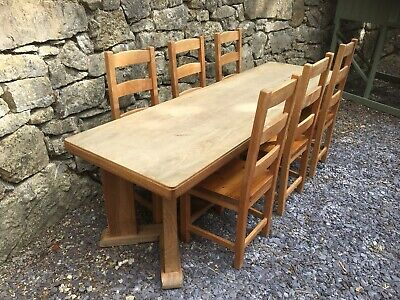 Hard Wood Antique Refectory Table / 6 Pine Chairs Included