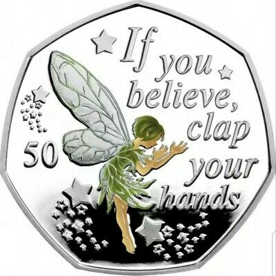 PETER  PAN  50p Coin TINKERBELL  2019 BRILLIANT UNCIRCULATED + Colour decal