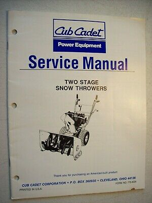 CUB CADET 450 Two 2 Stage Snow Thrower Service Manual