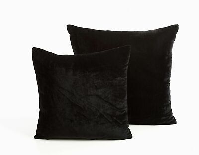 """Set Of 4 Black  Soft Washable Velvet Touch Easy Care 18"""" Cushion Covers £10.99"""