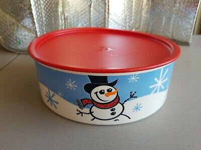 Tupperware One-Touch Cookie Canister Container - Snowmen - Red Seal - NEW