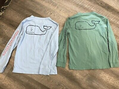 VINEYARD VINES Boys LOT OF 2 Long Sleeve Pocket T-Shirt Whale Logo SMALL (8-10)