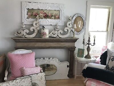 FOUR Antique Architectural Corbels Old Victorian Gingerbread Shabby Chic Chippy