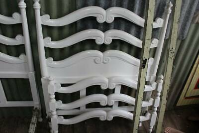 A French Style Antique White Timber & Cast Iron Single Bed - Second of Two