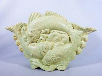 Art Deco Large Vintage Retro Greenway Australian Pottery Fish Vase Carp G62 C62