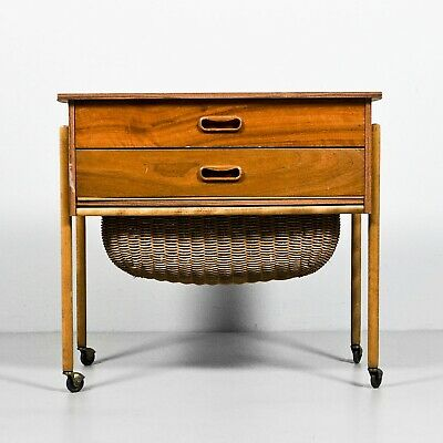 Sewing Table Danish Sewing Box Two Drawers 1960'S 1.Z