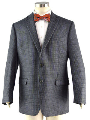 CHAPS Blue Gray Check Wool Tweed Sport Coat w/ Suede Elbow Patches ~ Men's 42L