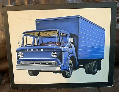 1960s ANTIQUE FOLK ART WATERCOLOR PAINTING  BLUE FORD BOX TRUCK HAND PAINTED