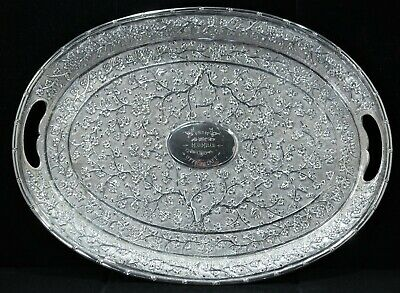 Chinese Export Solid Silver Repousse Cherry Blossom Large Handled Tray C. 1900